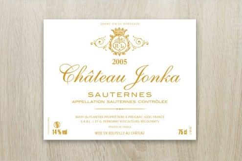 Étiquette de vin pour Château Jonka