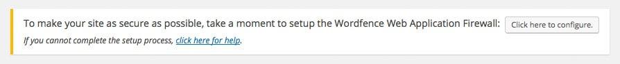 Message pour activer votre sécurité WAF avec Wordfence