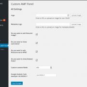 Réglages de l'extension Custom AMP pour WordPress