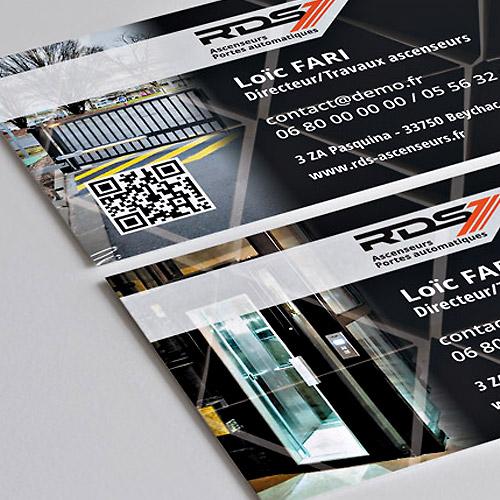 Carte de visite pour RDS Ascenseurs