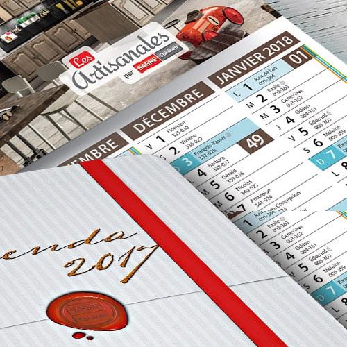 Couverture d'agenda d'entreprise 2017 SAGNE Cuisines