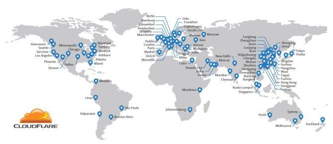 Carte mondiale du réseau CDN Cloudflare
