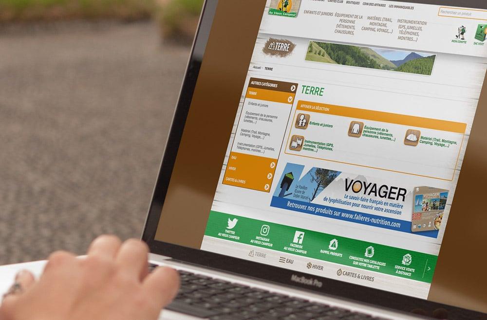 Annonce web site Web du Vieux Campeur