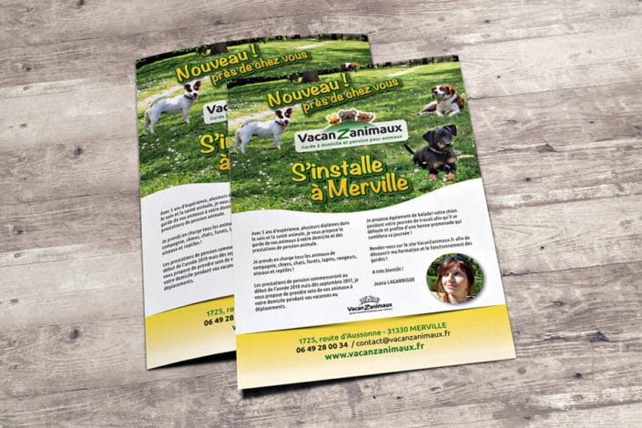 Flyer A5 pour Vacanzanimaux
